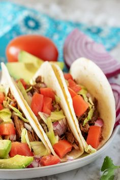 Our Instant Pot Shredded Beef Tacos only take a few minutes to brown the beef then simply dump in the remaining ingredients and done. You'll have tender, flavorful beef tacos with all your favorite toppings without having to babysit a pan on the stove top. #tacos #beeftacos #instantpot #berlyskitchen #roast #tacotuesday #shreddedbeef  via @berlyskitchen Roast Beef Tacos, Shredded Beef Tacos, Tamales, Tostadas, Enchiladas, Beef Recipes, Mexican Food Recipes, Ethnic Recipes, Yummy Recipes