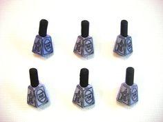 Nail Tech Buttons Polish Color Choice Blue Pink Shank Set of 6 Jesse James Buttons