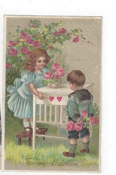 Antique Valentines Day Post Card Victorian Boy & Girl with Roses     ##