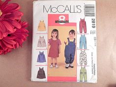 Toddler Clothes Sewing Pattern Uncut McCalls 2819 Size 1T to 4T Boys Overalls…
