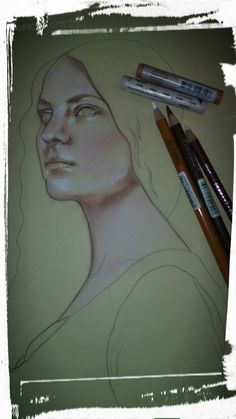 Pastelli morbidi Rembrandt e softpastels derwent. Ritratto della Gothic Model Danielle Fiore.