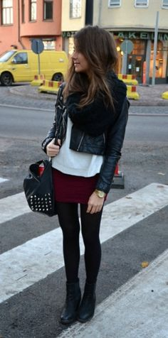 Fall outfits. Mini skirt with leggings