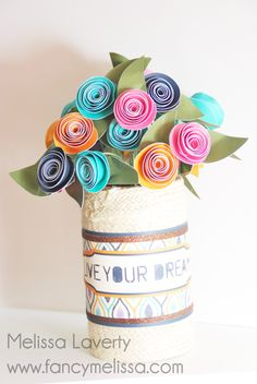 Braided Jute Covered Vase www.fancymelissa.com #ctmh #rope #rolledflowers #ikat #sarita