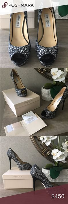 Jimmy Choo glitter platform pumps Only worn once! Gorgeous Jimmy Choo black and silver glitter platforms. Perfect for an evening out with the girls, holiday parties, or a Las Vegas wedding! Matching purse sold separately. Jimmy Choo Shoes Platforms