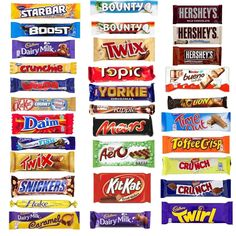 The Ultimate All American Milk Chocolate Candy Bar Variety Pack. Bundle of 32 Full Size Candy Bars. Plus Sanitizing Hand Wipes, Gift Card, and Gift Box. Snack Pack, Care Package, or Gift Bag Cadbury Chocolate Bars, Chocolate Candy Brands, Mars Chocolate, Chocolate Bonbon, Chocolate Gift Boxes, Hershey Chocolate, Chocolate Lovers, Chewing Gum, Packaging