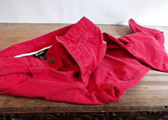 Red Jean Capris / Cotton Cropped Pants DKNY 1980s by rileybella123, $24.00