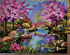 Unique treasures from a town named by vintagefrombutterfly on Etsy Simple Oil Painting, Garden Painting, Diy Painting, Japanese Garden Design, Paint By Number Kits, Paint By Numbers, Acrylic Painting Canvas, Scenery, Walmart