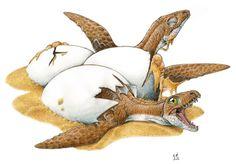 Plesiosaurus Hatching  Art by Gabriel L. Lio