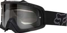 Fox Racing AIRSPC Goggle - Matte Black/Clear Lens: See the bigger picture with the new Fox AIRSPC goggles. By increasing air volume inside the frame by the AIRSPC goggle takes ventilation, peripheral vision and comfort to a new level. Bike Bmx, Dirt Bike Gear, Enduro Motorcycle, Dirt Bikes, Fox Racing, Motocross Goggles, Air Space, Riding Gear, Atv