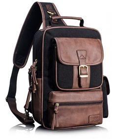 287ff197ed3 Cross Body Messenger Bag Shoulder Backpack Travel Rucksack Sling Bag -  Black 3101  -