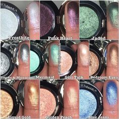 NYX PRISMATIC EYESHADOWS $6. Swatches FROSTBITE, PUNK HEART, JADED, SMOKE & MIRRORS, MERMAID, GIRL TALK, BEDROOM EYES, LIQUID GOLD, GOLDEN PEACH, BLUE JEANS
