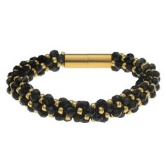Deluxe Spiral Beaded Kumihimo Bracelet - Black and Gold - Exclusive Beadaholique Jewelry Kit Jewelry Making Kits, Jewelry Kits, Gold Color Palettes, Black Gold Jewelry, Braided Bracelets, Gold Fashion, Gold Beads, Czech Glass Beads, Fashion Bracelets