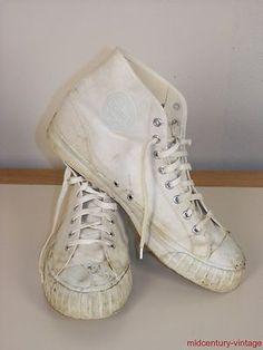VINTAGE- 1960s CANVAS BATA High-Top BASKETBALL Sneakers #batashoes