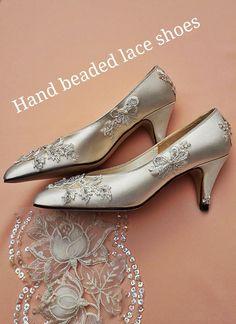 Bridal Wedding Shoes Soft White or Ivory Satin Hand Beaded Lace Embroidery Medium Heeled Elegant Classic Court shoe for the Bride