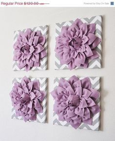 """MOTHERS DAY SALE Wall Decor -Set Of Four Lilac Dahlias on Gray and White Chevron 12 x12"""" Canvases Wall Art- 3D Felt Flower"""