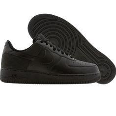 Nike Womens Air Force 1 07 Low (black   black   black nubuck) Shoes 315115-005   2e8be2353b