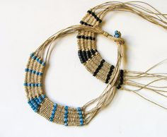 Woven tribal tapestry necklace native style artisan jewelry
