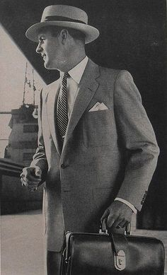 1950s mens fashion suit was designed to be tall, straight, plain and comfortable. Learn more 1950s men's fashion history at VintageDancer.com