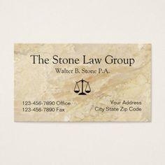 Stone Look Powerful Attorney Business Card - attorney lawyer business personalize unique counsel