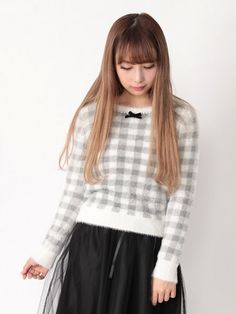 Ank Rouge Pearl trim block check shaggy knit