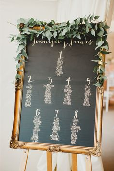 Gold framed chalk board wedding table plan | Photography by http://www.haydnrydings.co.uk/
