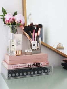 Peonies, books and mac lipstick - a cute way to get organized