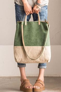 Art Canvas and Leather Contrast Color Rectangle Handbag D0037A