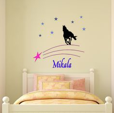 Horse decal, name wall sticker, girls bedroom wall decal, teen room decor, personalized decal, star decal, nursery, 40 X 40 inches,92 - HP by aluckyhorseshoe on Etsy