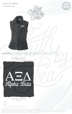 Alpha Xi Beta | Alpha Xi Beta Fleece | Alpha Xi Beta Vest | Fleece Sorority Vest | Sorority Outerwear | Greek Outerwear | Sorority Fleece | South by Sea | Sorority Shirts | Sorority Tanks | Greek Shirts