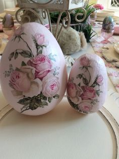 Reserve for Gigi D. Pink Rose Decoupage Eggs / set by ThePinkPair