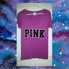 Victorias Secret T-Shirt This is a v-neck Victorias Secret pink t shirt. It's a medium and runs a little larger then an 8-10 medium. Really cute on. Victoria's Secret Tops Tees - Short Sleeve