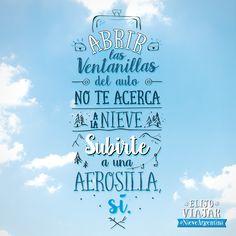 Abrir las ventanillas del auto no te acerca a la nieve. Subirte a una aerosilla, ¡Si!  ¡Viví la #NieveArgentina!  Más info en www.nieveargentina.gov.ar  #Frases #ArgentinaEsTuMundo #Argentina #nieve #viajar #travel #snow
