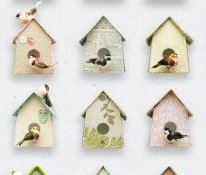 Love this wallpaper with lovely paper birdhouses.