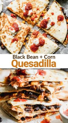 These simple and healthy Black Bean Quesadillas are an easy dinner everyone loves. Flour tortillas filled with cheese, black beans, corn, onion, bell pepper and spices.#blackbeanquesadilla   #quesadilla #vegetarian #easy #healthy #recipe #kids #redpeppers #tastesbetterfromscratch via @betrfromscratch