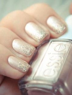 Nail Colors, Nail Polish Trends, Nail Care & At-Home Manicure Supplies by Essie. Shop nail polishes, stickers, and magnetic polishes to create your own nail art look. Bridal Manicure, Manicure E Pedicure, Manicure Ideas, Mani Pedi, Bridal Shower Nails, Nail Design Glitter, Glitter Nails, Sparkly Nails, Gold Glitter
