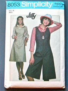 Vintage Sewing Pattern Simplicity 8053.   Cullotes by Fancywork ~ Jiffy pattern; I usually don't care for Culottes, but might be persuaded occasionally.