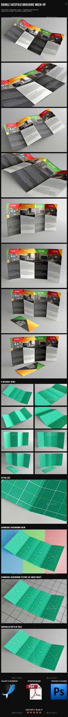 Double Gatefold Brochure MockUp   Brochures Mockup And Design