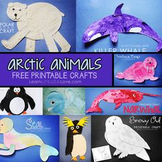 Arctic Animals & Cold Weather Animals ~ Free Printable Crafts from… Animal Activities, Animal Crafts, Arctic Habitat, Art Inuit, Winter Thema, Printable Crafts, Free Printable, Printable Animals, Printable Templates