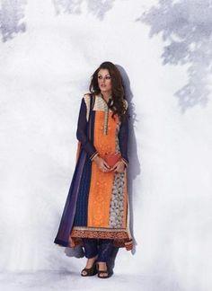 Orange with Printed Work Straight Cut Salwar Kameez Online ,Indian Dresses