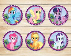 My Little Pony Cupcake Toppers Stickers Purple por ApothecaryTables