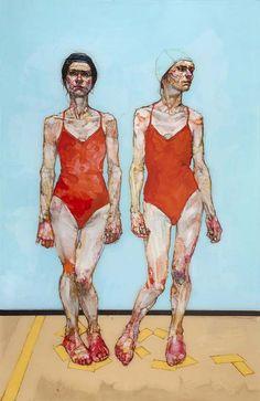 H. Craig Hanna - THE BATHERS. Acrylique et Encre sur Perspex