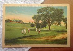 Vintage Postcard, Country Club House Golf Course, Roanoke, Virginia, 1940s Linen Paper Ephemera