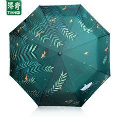 Creative Pattern (Waterfront water Willow) 3 Folding women umbrella double Thickening sunshade umbrella rain women umbrellas