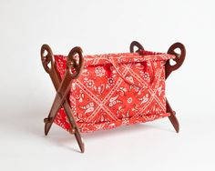 Fabric Tote For Sewing Crafts Knitting Storage by TwoStoryVintage