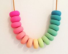 Items similar to Rainbow Popsicle - Polymer Clay Necklace on Etsy