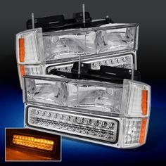 94-98 C10 C/K SUBURBAN SILVERADO CHROME HEADLIGHTS+CORNER+FULL LED BUMPER LAMPS