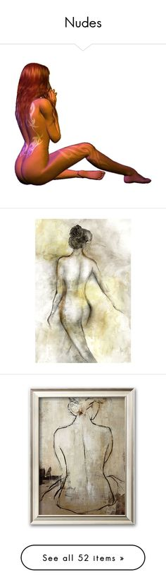 """Nudes"" by jennross76 ❤ liked on Polyvore featuring home, home decor, wall art, black & white wall art, abstract home decor, gold home decor, giclee wall art, leftbank art, champagne and wooden wall art"