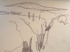"""""""Day sixteen View down El Tajo towards the mountains, Ronda. Pencil on paper. Pencil, Sketches, Mountains, Drawings, Day, Paper, Artist, Artwork, Painting"""