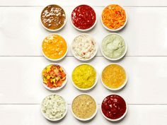 50 condiment recipes for topping hot dogs, burgers and sandwiches from Food Network Magazine.