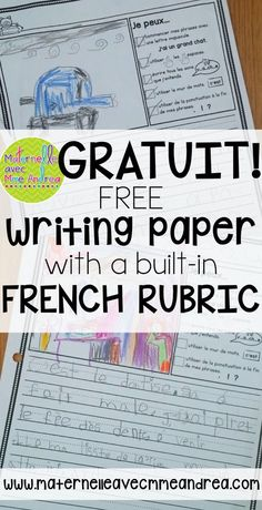 """FRENCH Freebie – Papier d'écriture avec phrases """"Je peux"""" en français FREE French writing paper, with a rubric built right in! Students will check to make sure they use correct capitalization, punctuation, spaces, and word wall words. French Teaching Resources, Teaching Activities, Teaching French, Movement Activities, Motor Activities, School Resources, Learning Games, Teaching Reading, Physical Activities"""
